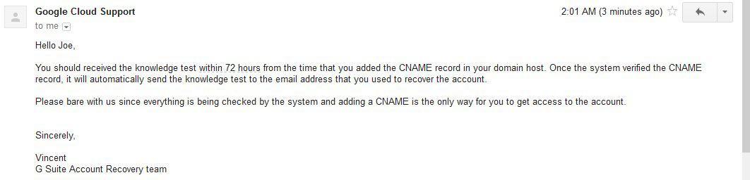 Google CNAME response